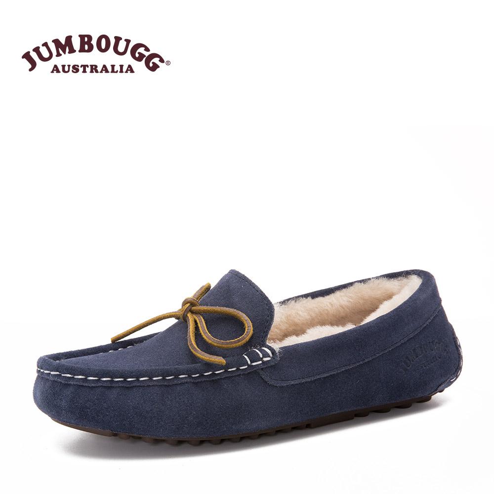 JUMBOUGG简帛冬季澳洲羊皮毛一体豆豆鞋女羊毛鞋平底单鞋保暖2543