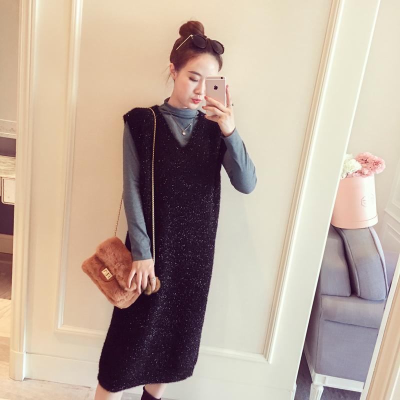 冬装女2018新款韩版纯色半高领打底衫两件套时髦