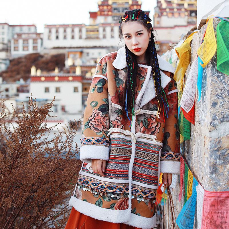 麦叙苍穹原创冬季新款加厚民族风中长款羊羔毛