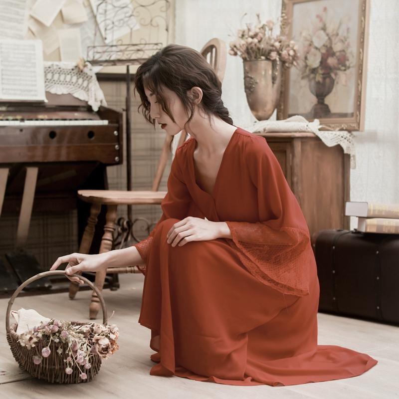 红色雪纺连衣裙女夏2019春装新款法式复古裙超仙仙女裙少女初恋裙
