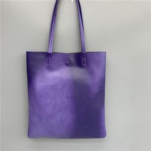 外贸尾货 进口头层软牛皮手提购物袋A4文件袋 复古百搭实用真皮包图片