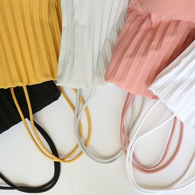 慵懒风2019Neispace泰国原创设计师品牌褶皱手提包单肩包水桶包女