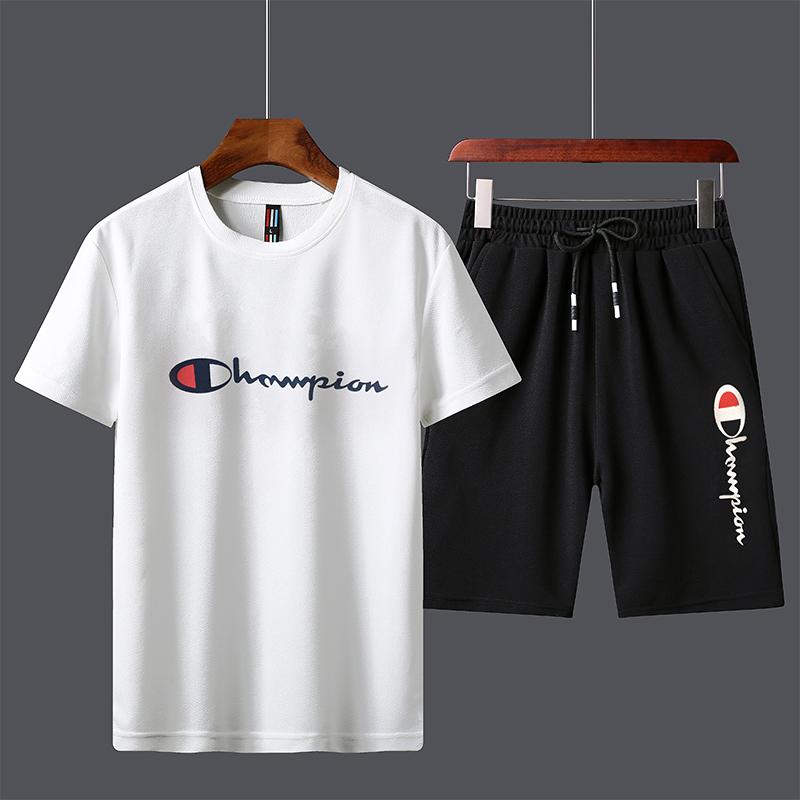 明星ins潮牌余文乐同款夏季短袖t恤男士套装潮流一套男装韩版衣服