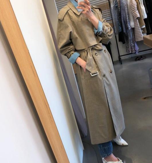 chic复古格纹法式系带风衣外套-辛迪Cindy-