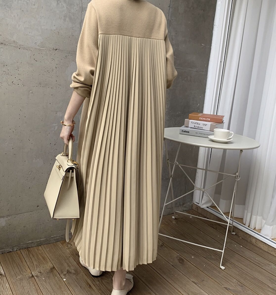 韩式拼接设计感压褶加绒卫衣连衣裙-辛迪Cindy-