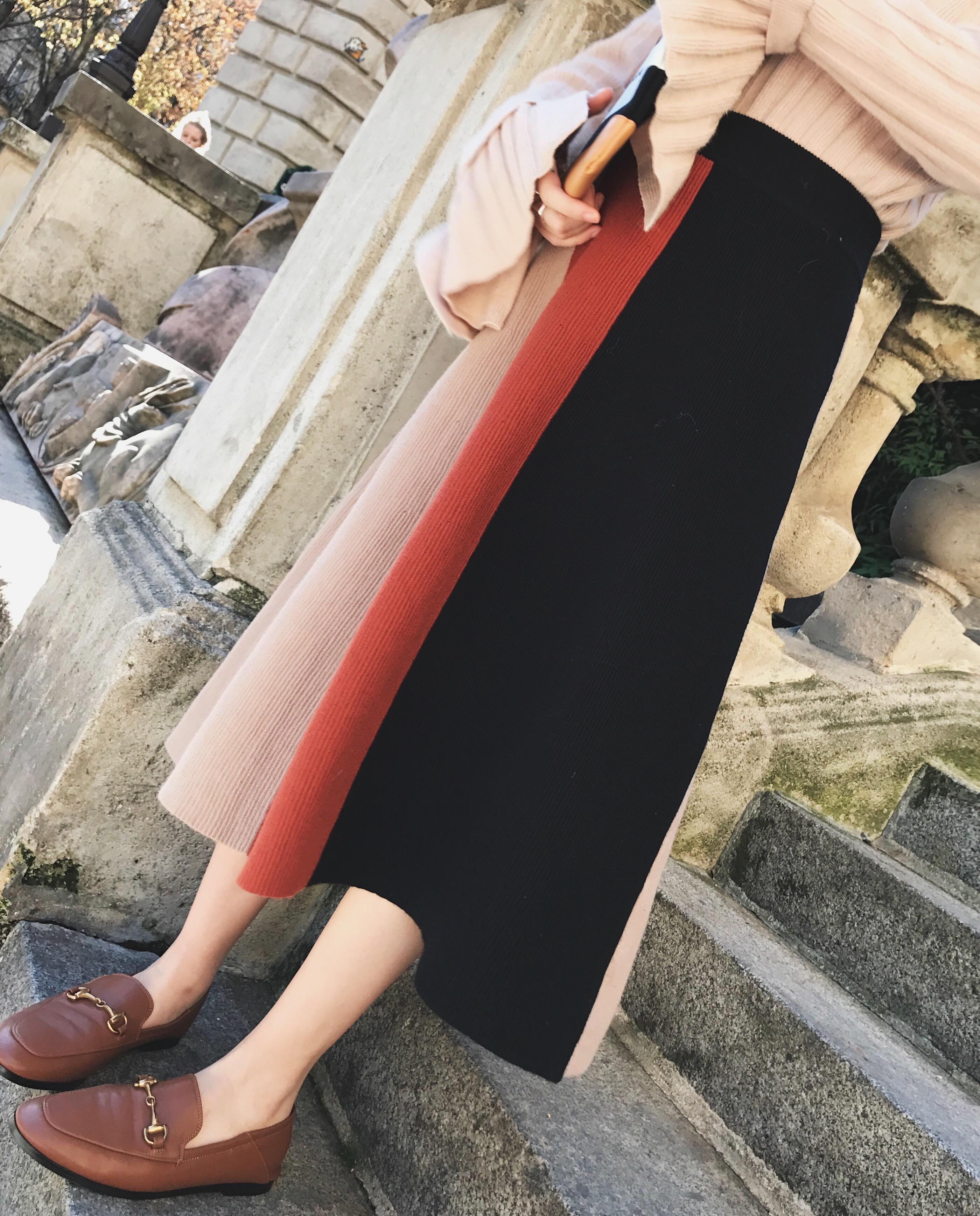 钱夫人CHINSTUDIO冬季港味chic高腰针织半身裙女中长款显瘦A字裙