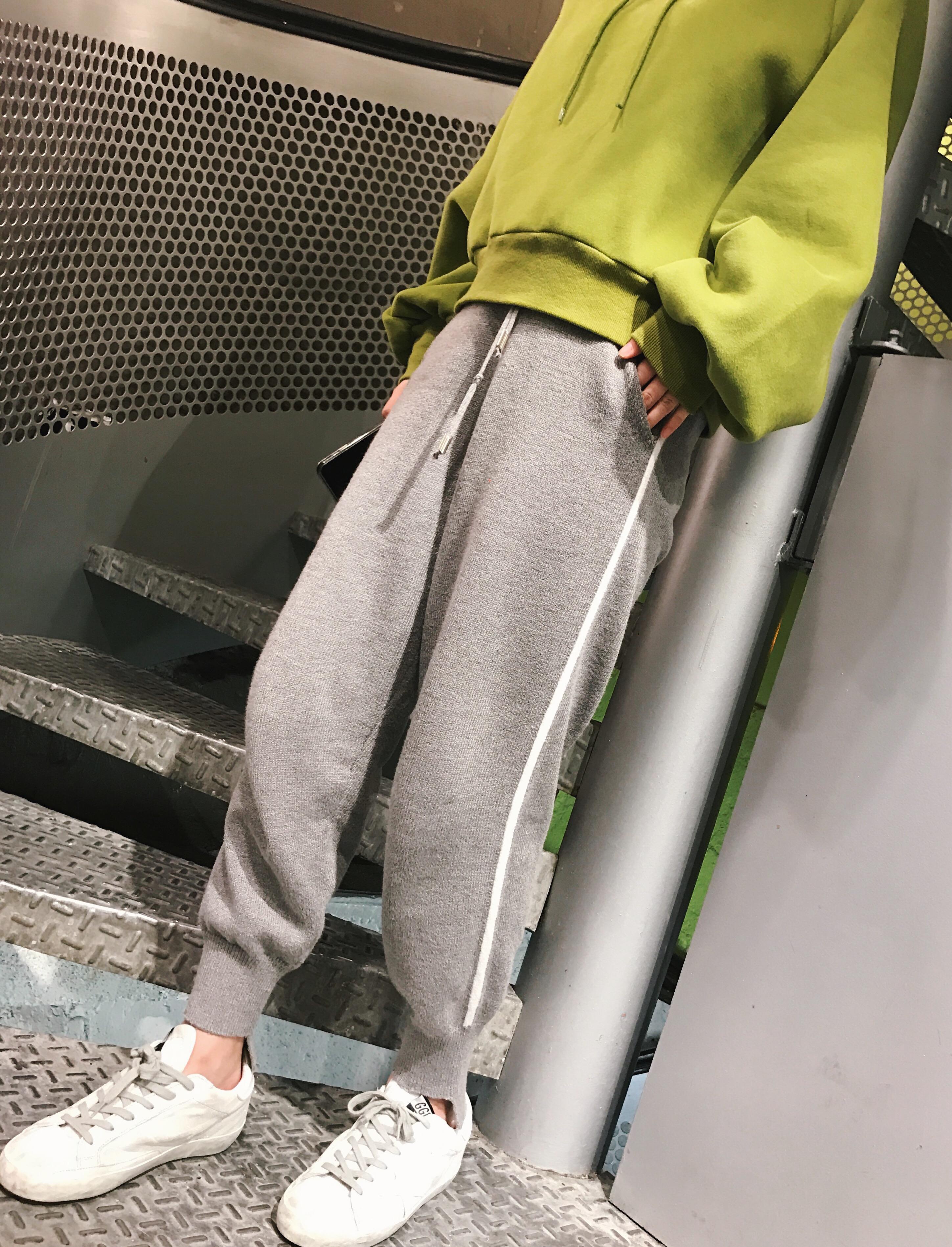 钱夫人CHINSTUDIO 冬季宽松针织哈伦裤女学生休闲裤长裤子束脚裤