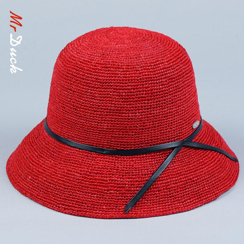 拉菲草遮阳草帽女沙滩海边可折叠红色太阳帽韩版百搭防晒帽子女夏