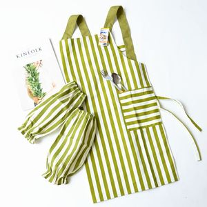Full pure polyester cotton apron set Home kitchen oil and sewage prevention
