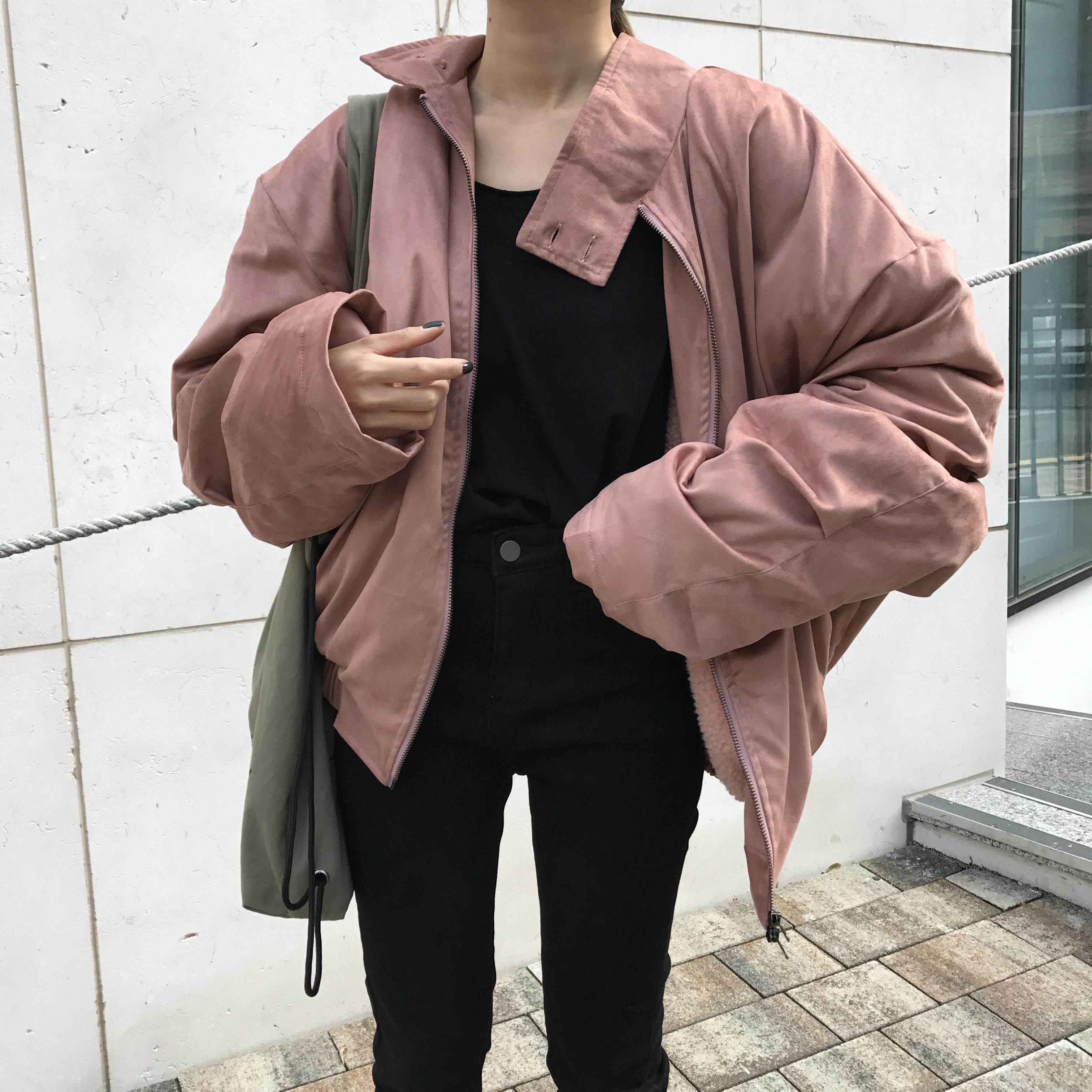 荒荒家定制 简约加厚羊羔绒夹克女韩版2018秋冬新款宽松长袖外套