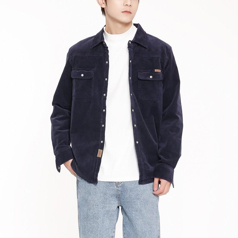秋款灯芯绒衬衫男长袖纯棉男装条绒衬衣外套男日系宽松休闲青年衫