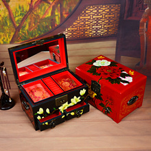 中国风纯手工漆ai4摆件首饰st宝收纳盒结婚嫁妆传统特色礼品