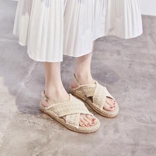 仙女风凉鞋女INS厚底鞋2020新款草编麻绳底渔夫鞋学生毛球森女鞋