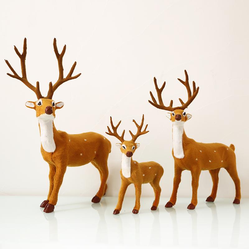 仿真梅花鹿动物摆件森系摄影道具桌面摆件圣诞鹿家居装饰小鹿包邮