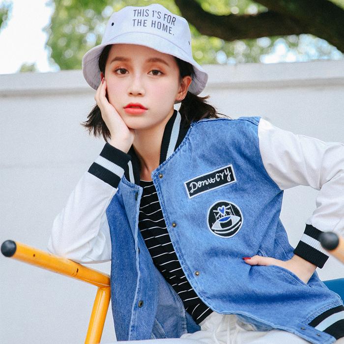 实拍 新款棒球服女长袖短款bf学生百搭宽松韩版修身牛仔外套-蛮女孩牛仔-
