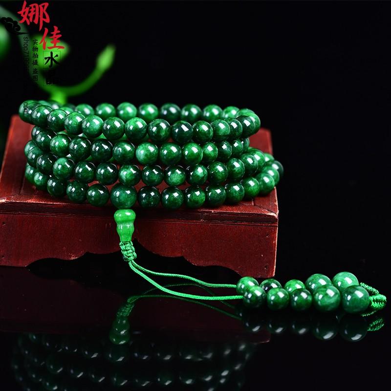 干青翡翠108颗佛珠念珠手链多圈铁龙生手串男女款玉石祖母绿项链