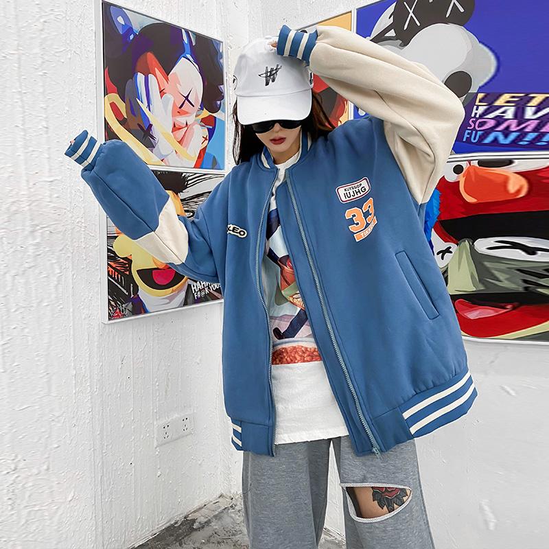 实拍现货8833#2020秋季新款韩版拼接卫衣外套韩版宽松情侣棒球服 -