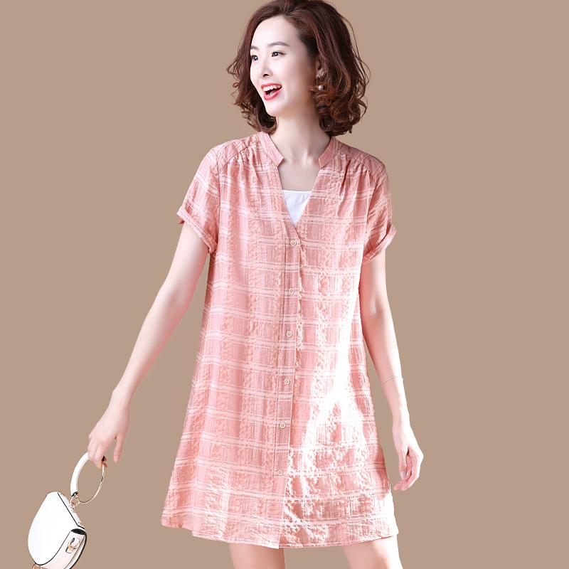 原创 宽松 休闲 短袖 格子 连衣裙 衬衫 夏装 新款