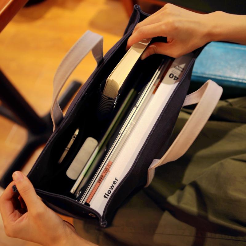 帆布书袋商务文件袋文件包大容量公文包学院休闲男女小清新手提包