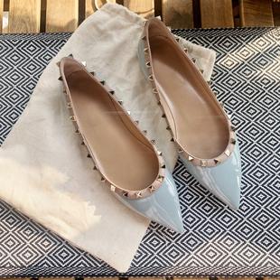 限定雾霾蓝~羊皮尖头浅口平底鞋真皮时尚低跟单鞋仙女鞋瓢鞋女潮