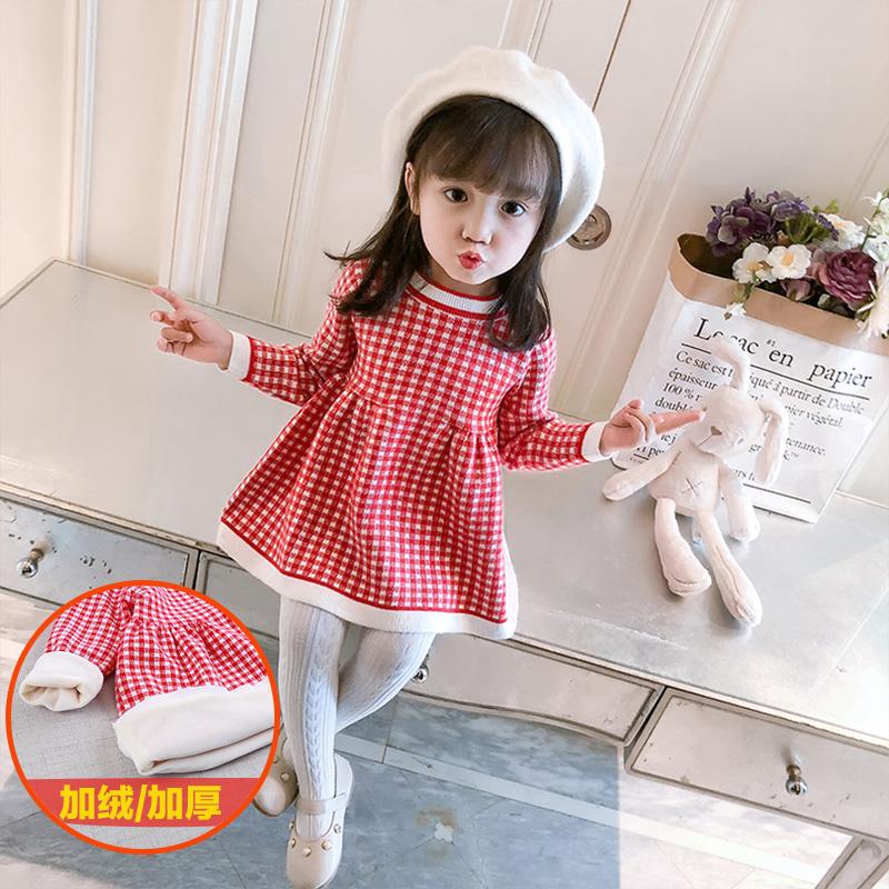 2女童连衣裙秋冬装宝宝针织格子裙打底衫婴儿加厚加绒毛衣裙子1岁