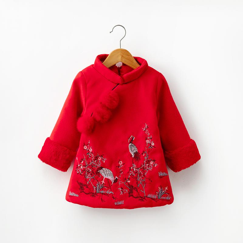 男女童旗袍冬季加棉加厚唐装儿童喜庆新年装拜年服宝宝中国风童装