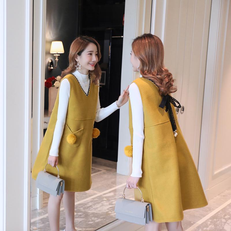 孕妇冬装套装时尚2018新款花边蝴蝶结毛呢背心裙+纯色毛衣两件套