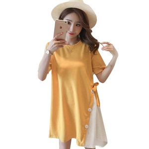 2018 new maternity clothes summer fashion mosaic fake two pregnant women dress female summer Korean women's skirt