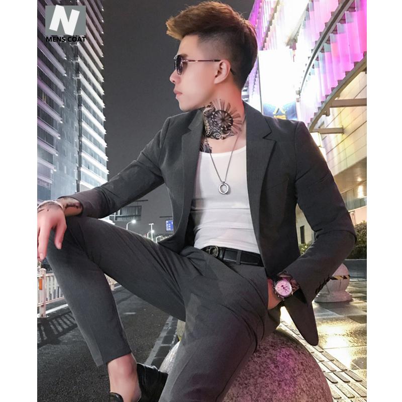 春装英伦西服套装男士韩版修身帅气社会小伙西装九分裤两件套潮流
