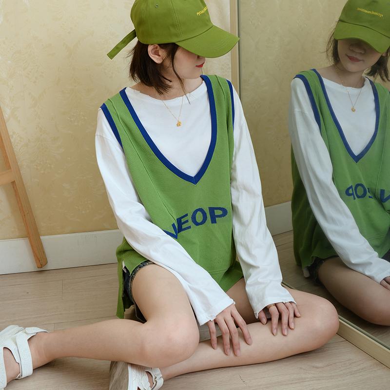 ORVLI针织背心女外穿宽松酷牛油果绿学生泫雅风无袖冰丝吊带ins潮满85元减40元