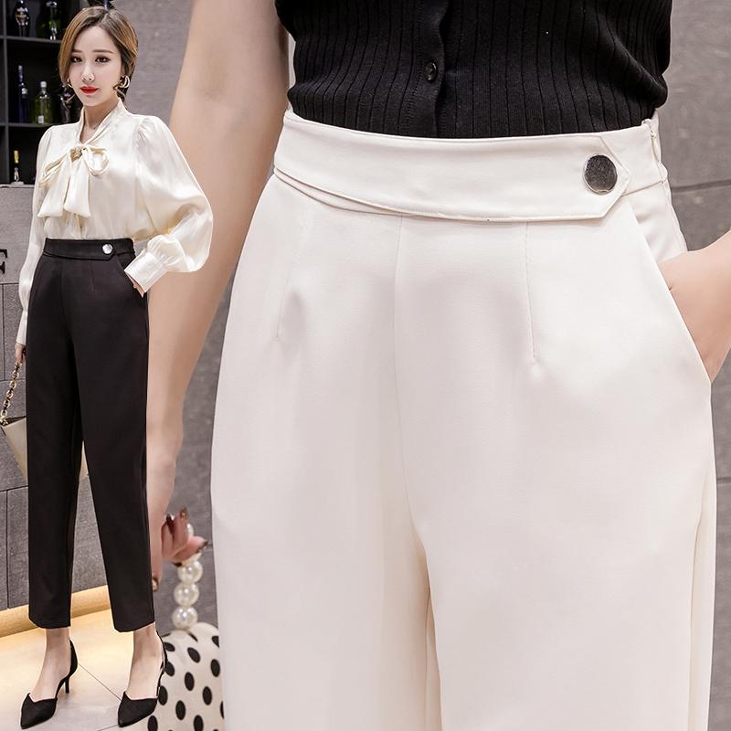 西装裤女九分裤2020春装新款韩版高腰显瘦哈伦裤休闲裤小脚裤子 -