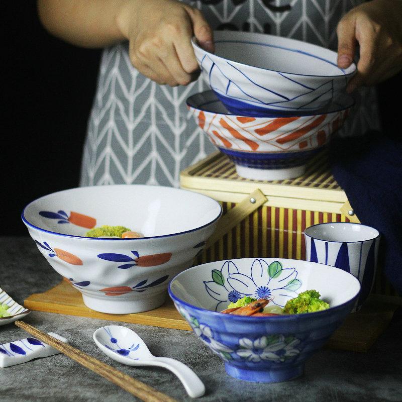 斗笠碗喇叭米饭碗高脚大号5寸和风复古家用日式餐具青花瓷拉面碗