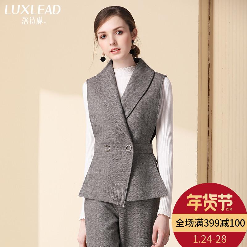 洛诗琳无袖马夹女短款收腰显瘦西装领OL马甲外套2017冬季新款