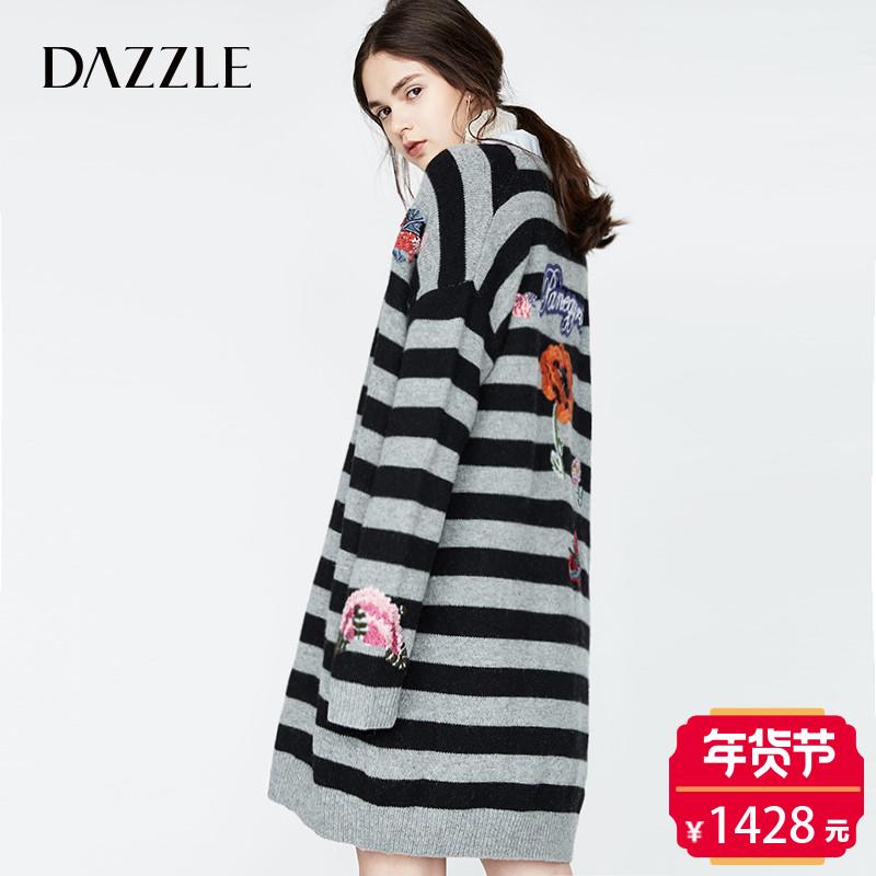 DAZZLE地素 新款 趣味彩色刺绣毛衫开衫 2A3E504
