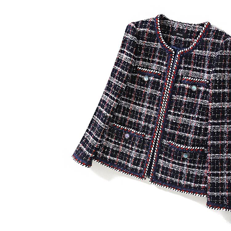 精工 细作 秋冬 新款 女上衣 羊毛 花呢 香风 时髦 外套