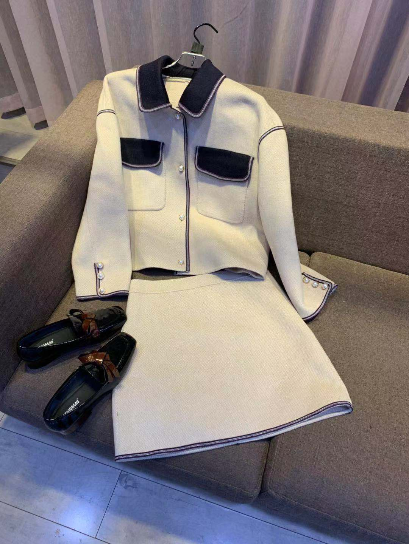 VANLU轻奢定制 镇店美品  双面羊毛套装 减龄珍珠外套+A字半身裙满3000元减80元