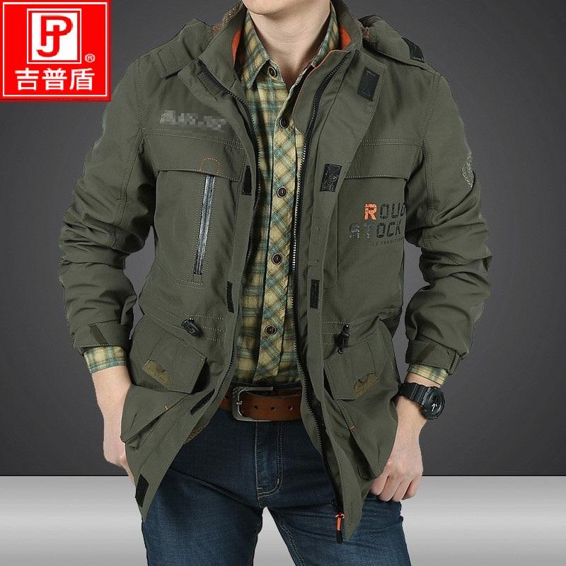 吉普盾秋冬季外套男装战术户外休闲速干冲锋衣防风多口袋大码夹克