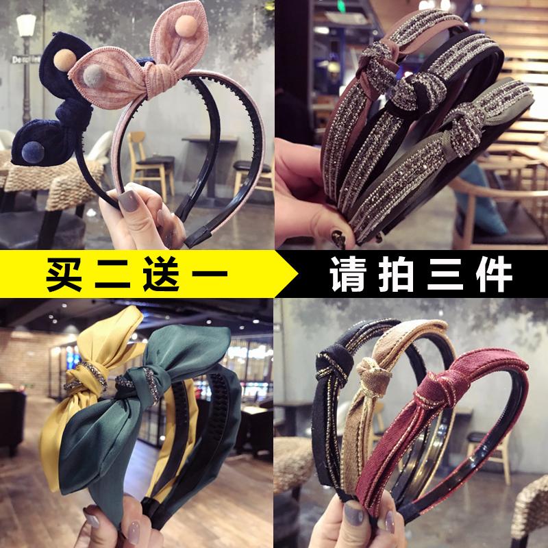 韩版新款烫金细边打结头箍蝴蝶结发卡带齿防滑兔耳朵发箍水钻压发