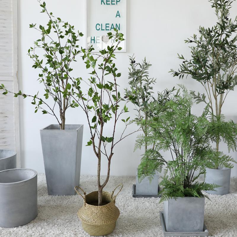 北欧风仿真椿树绿植物网红盆栽大型室内装饰客厅服装店落地摆件景