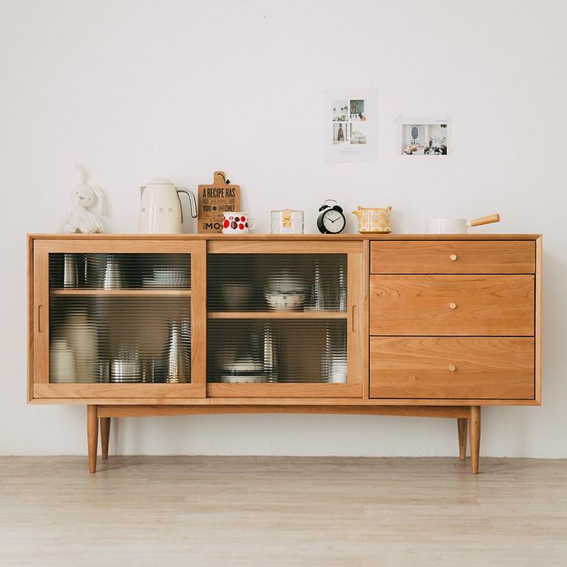 北欧实木餐边柜现代茶水柜储物柜简约大收纳柜移动门玻璃碗柜橱柜