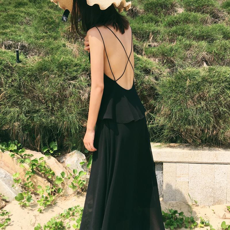 经典 露背 黑色 拖地 长裙 女神 性感 连衣裙 海边 度假 吊带 沙滩