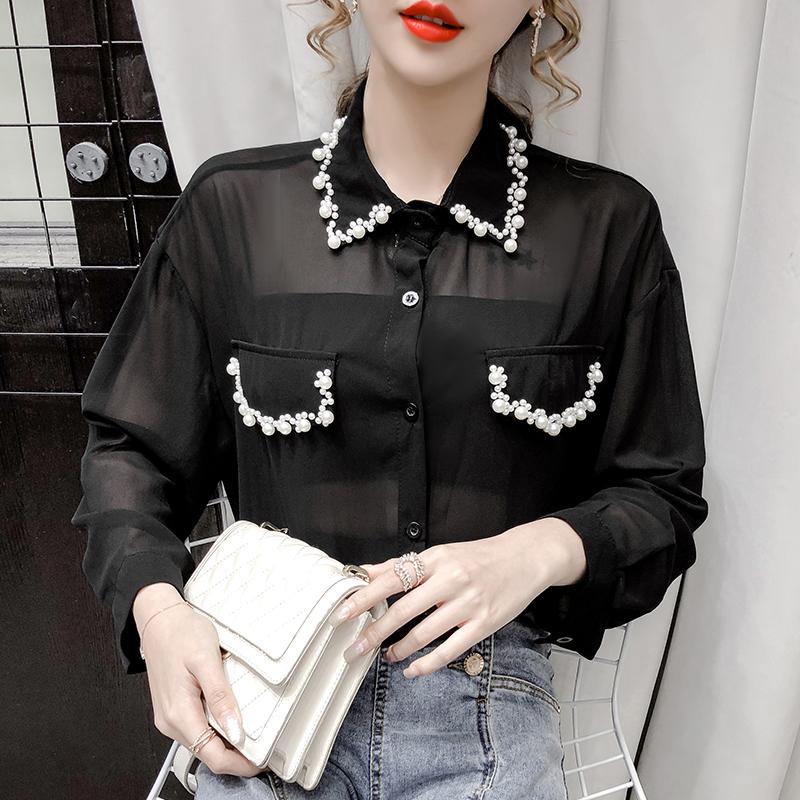 实拍2020秋季新款欧洲站珍珠衬衣雪纺洋气防晒衣长袖小性感上衣-艾美尔-