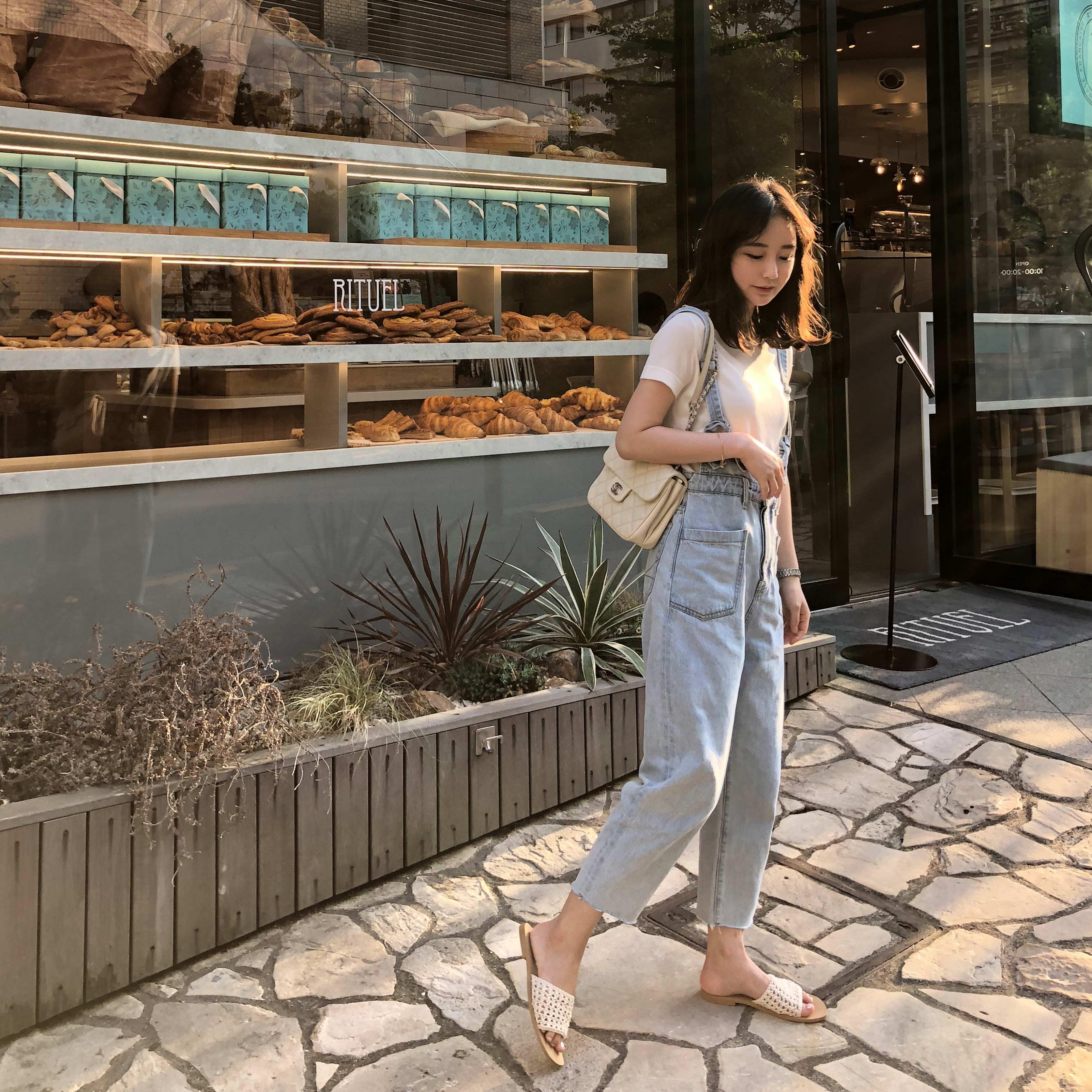 sundaymerry 18夏|ice blue牛仔背带裤女夏宽松韩版九分裤