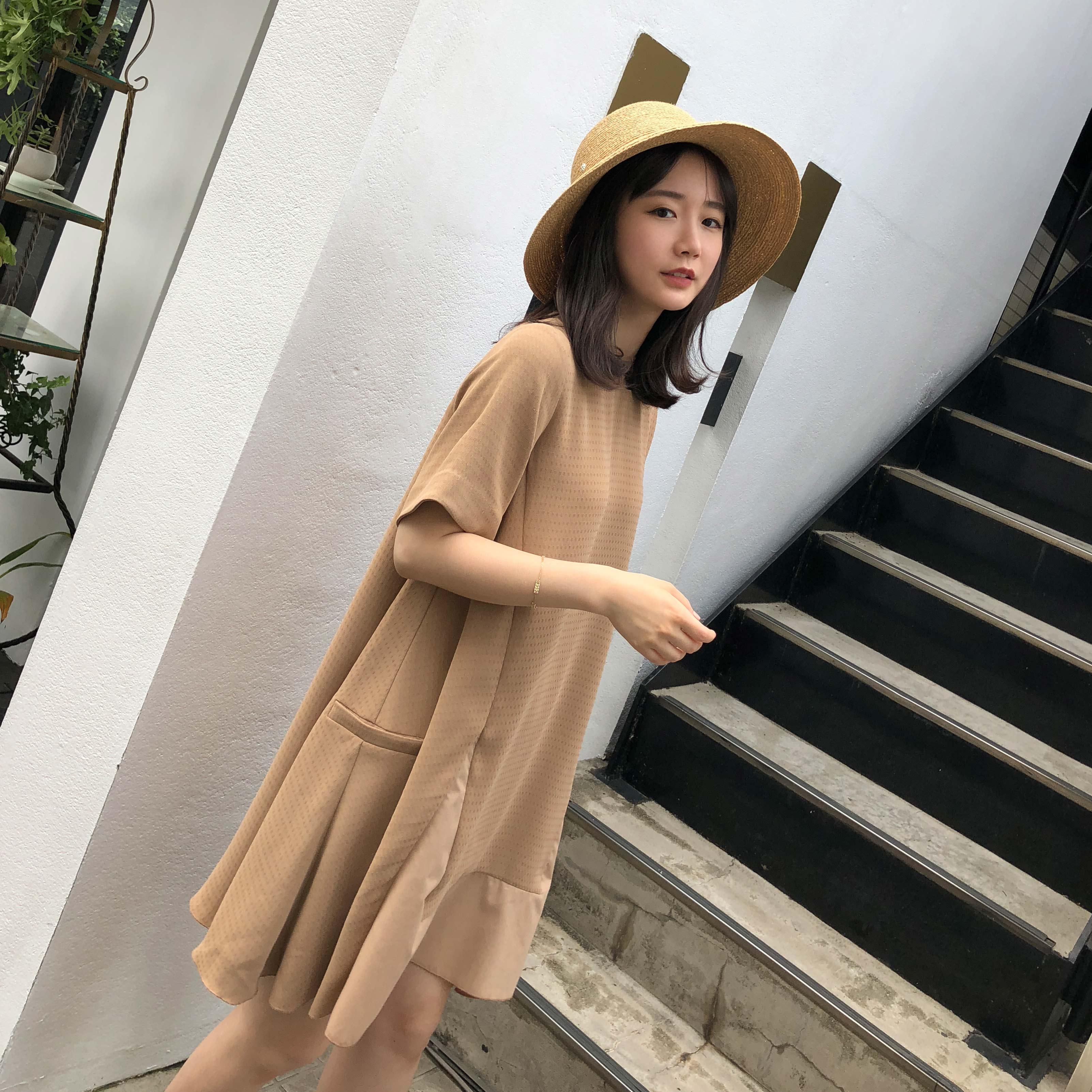 sundaymerry 18夏|三种面料拼接a字连衣裙女夏气质裙子女夏