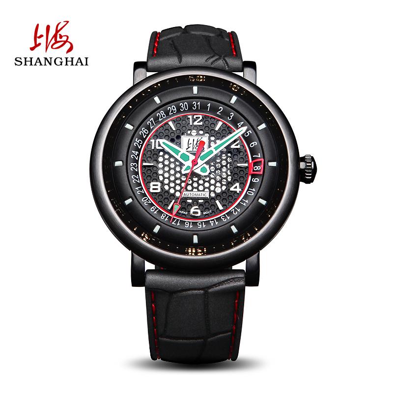 上海手表男自动机械表时尚休闲酷黑镂空表盘透底表背指针765
