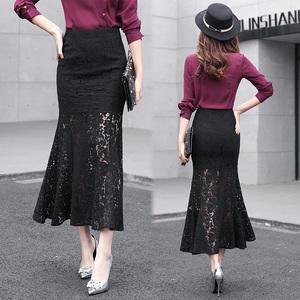 Spring and summer new women's Korean version of the lace package hip skirt was thin one-step skirt women's skirt fishtail skirt high waist skirt skirt