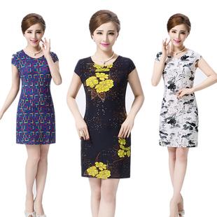 连衣裙女夏季新款中老年装中年妈妈装大码修身短袖中长2017花裙子