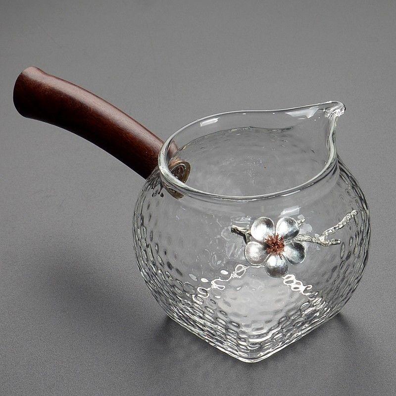 扭纹玻璃杯玻璃公道杯加厚大号带手柄侧把个性镶锡分茶器茶具配件