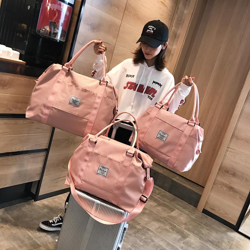 [¥27.9]网红旅行包女手提行李袋女韩版大容量可爱小短途轻便防水学生潮包