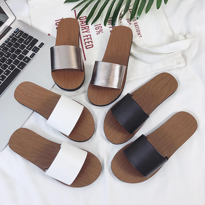 2018夏季新款韩版时尚百搭一字拖鞋女平跟平底沙滩防滑凉拖鞋女鞋